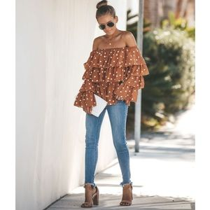 FALL MUST HAVE! NWT Vici Rust Off Shoulder Blouse
